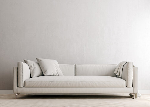 white concrete mock-up wall with white fabric sofa and pillows, modern interior, negative copy space above, 3d rendering, 3d illustration