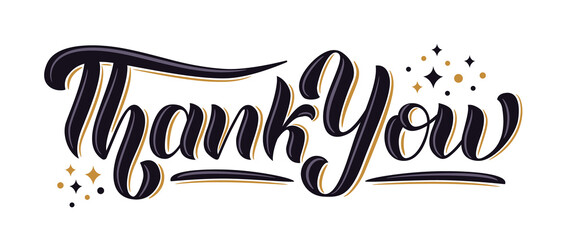 """Thank You"" hand drawn lettering with decorative elements. Vector illustration."