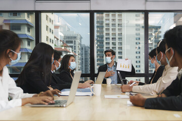 new normal of business practise to wear mask in working and meeting