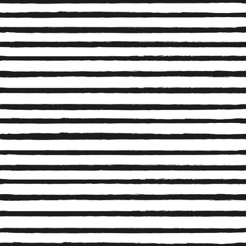 Universal unisex black and white seamless repeat pattern with skinny thin grunge torn texture jagged vector stripe
