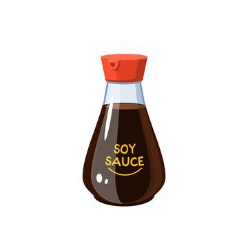 Soy sauce bottle, liquid condiment dispenser, vector illustration cartoon icon isolated on white background.