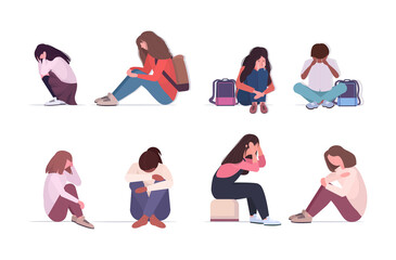 set depressed mix race people crying depression problems stress psychotherapy bullying concept full length horizontal vector illustration