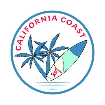 Colorful vector surfing logo - California Beach Surfers Paradise