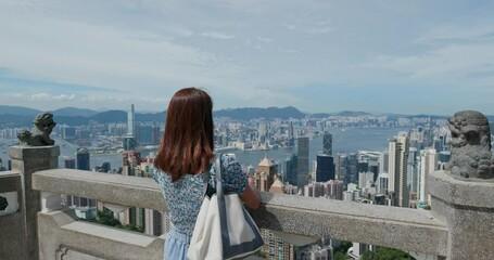 Wall Mural - Woman visit Hong Kong city