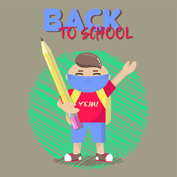 Schoolboy with a mask, abstract scribble background and fashionable lettering. Colorful clip-art..