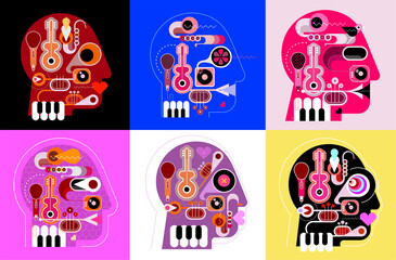 Six human head shape designs consisting with a different musical instruments vector illustration.