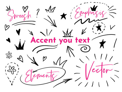 Vector doodle hand drawn collection of swishes, swoops, emphasis. Highlight text elements, calligraphy swirl, taile, flower, heart, graffiti crown.