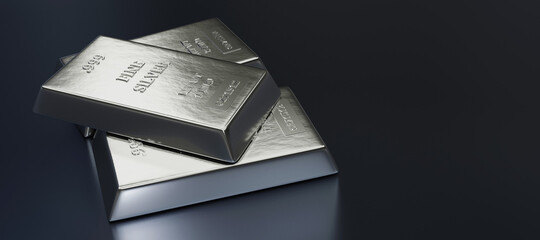 Close up view of Silver bars or ingots in bank vault background. Precious metal.3D illustration