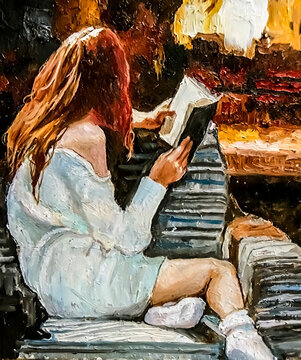 Young girl comfortably sits on a sofa and reads a book near the fireplace. Oil painting on canvas.