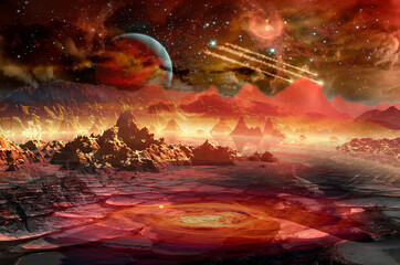 Spaceship in space above the red planet in distant solar system. Elements of this image furnished by NASA.