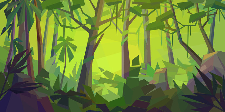 Low poly tropical landscape. Beautiful jungle with palms, ferns, vines and rocks. Horizontal vector illustration