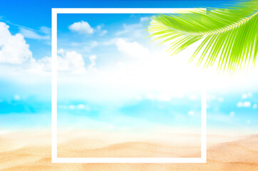 Wall Mural - Blur beautiful nature green palm leaf on tropical beach and bokeh with white frame abstract background.