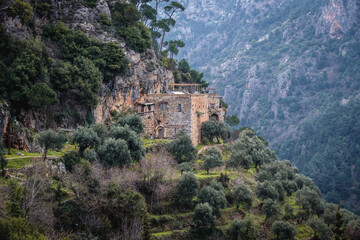 The Monastery of Our Lady of Qannoubine, one of the oldest monasteries in the world in Kadisha Valley also spelled as Qadisha in Lebanon