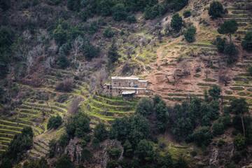 Old farm among orchard terraces in Kadisha Valley also spelled as Qadisha in Lebanon