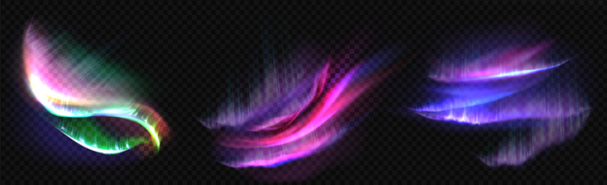 Arctic aurora borealis, polar lights, northern natural phenomena isolated on dark background. Amazing iridescent glowing wavy illumination on night sky, shining. Realistic 3d vector illustration, set