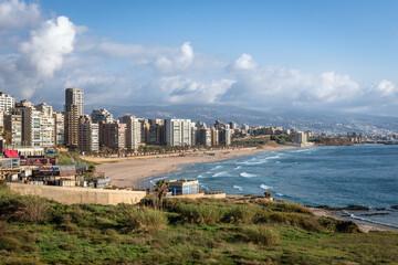 Aerial view on Ramlet al Baida on Mediterranean Sea coast, main beach in Beirut, capital of Lebanon