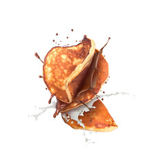 pancakes falling with chocolate and milk splash  isolated