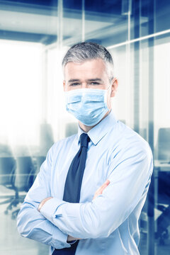 Businessman wearing a mask in a Covid-19 concept