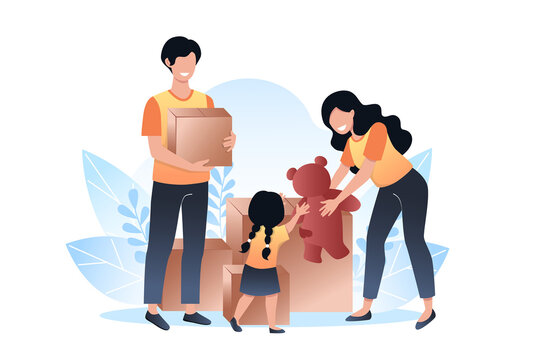 International day of charity. A woman gives a bear to a child. Young man holding a box for charity. Vector illustration in flat style