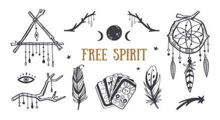 Free spirit boho vector collection. Dreamcatchers, feathers, tarot cards and other mystical symbols