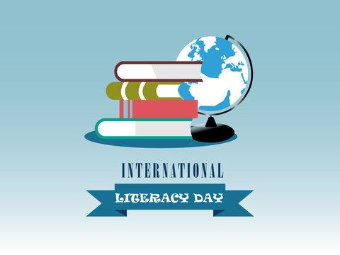International literacy day. Books. Literacy day. Vector illustration. Vector. Logo