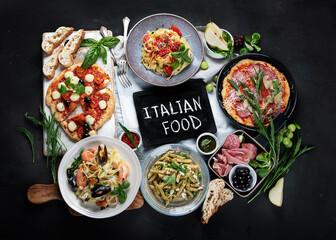 Italian food  on dark background