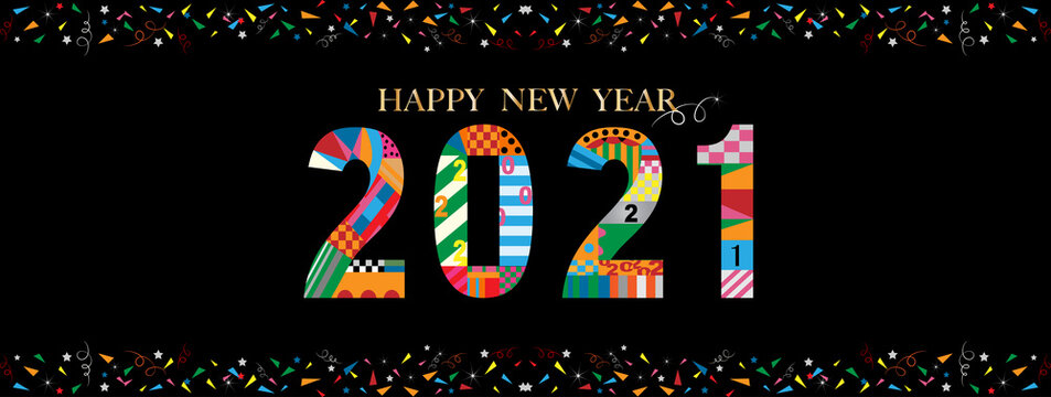 Typography text happy new year 2021 font in geometric style on black background, Creative design for Greeting card lettering. Vector 2021 flyers, posters, banners and calendar background