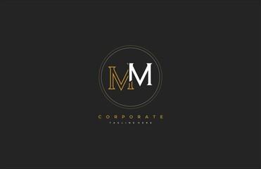 MM letter isolated line circle monogram vintage logo