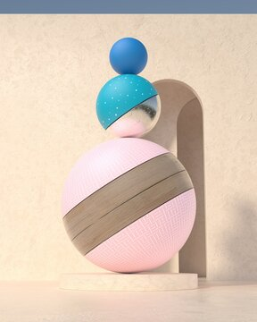 Realistic 3d render of abstract sculpture in front of the wall with arc in daylight. Minimalism.