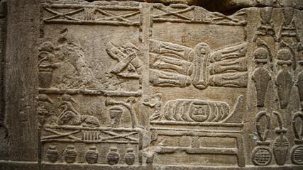 Hieroglyphic in Edfu HOrus temple showing abundance of food resources corn grape culture of Egypt...