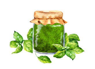 Homemade basil pesto sauce in glass jar decorated with fresh basil leaves. Watercolor food