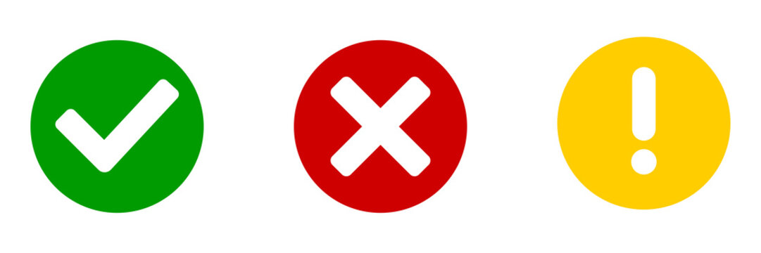 Checkmark cross exclamation circle icon. Vector isolated element. Flat sign on white background.
