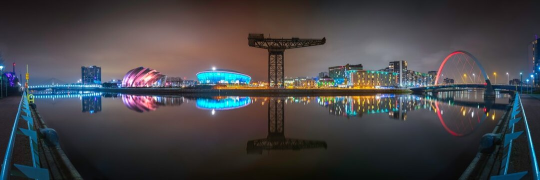 Clydeside Night Panorama, Glasgow, Scotland