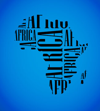 Sketch African text continent Flat icon version Image. Africa word background Picture. book Silhouette