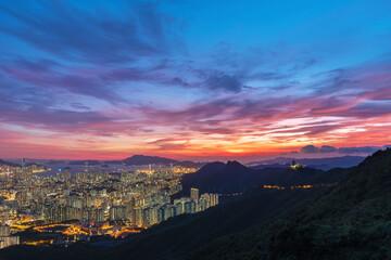 Fototapete - Idyllic landscape of sunset over Hong Kong city