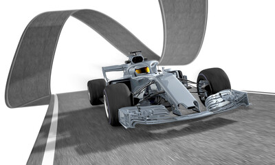 silver f1 racecar on a wired track 2