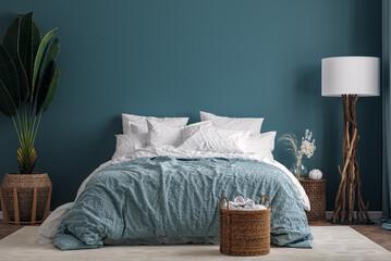 Fototapeta Dark blue bedroom interior background, 3d render obraz