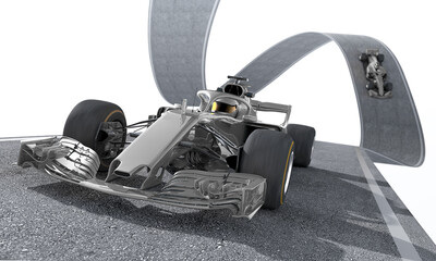silver f1 racecar on a wired track 1