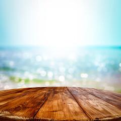 Wooden desk of free space and summer ocean landscape