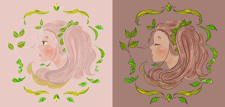 装飾的な植物に縁取られた、かわいい女の子のベクターイラスト