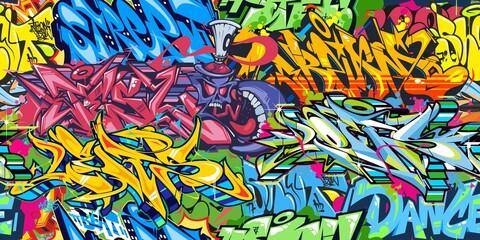 Abstract Colorful Graffiti Street Art Seamless Pattern. Vector Illustration Background Art