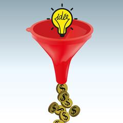 Concept de l'idée ou de la solution qui rapporte de l'argent, avec comme symbole un cerveau qui se transforme en dollars en passant au travers un entonnoir.