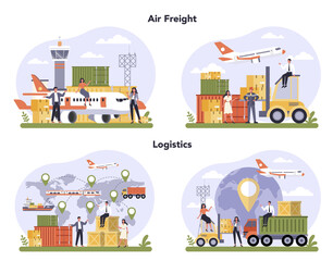 Air freight and logistic industry set. Cargo transportation service. Idea