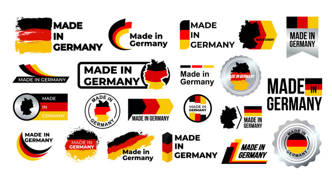 Made in Germany. Big set of label, stickers, pointer, badge, symbol and page curl with German flag icon on design element. Collection vector illustration. Isolated on white background.