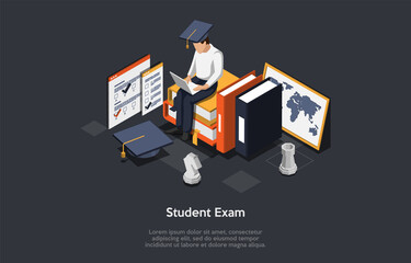 Online Exam, Questionnaire Form Concept. Student In Uniform And Academic Hat Sitting On Stacks Of Books And Typing On Laptop. Remote Exam, Distant Online Education. Isometric 3D Vector Illustration