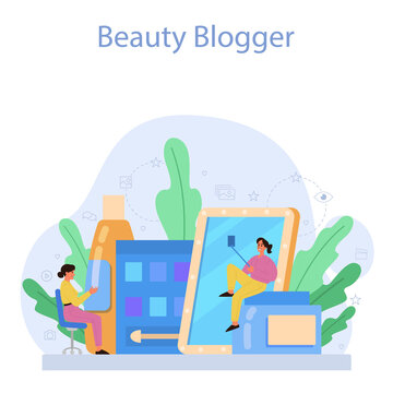 Video beauty blogger concept. Internet celebrity in social network.