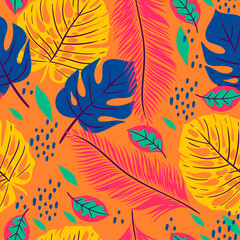 Seamless pattern with tropical leaves on an orange background. Vector graphics.