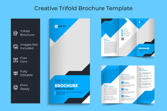 Creative Corporate & Business Trifold Flyer Brochure Template Design, abstract business Trifold brochure, vector brochure template design. Brochure design, cover, annual report, poster, Trifold flyer