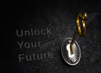 Unlock Your Future vintage lock and gold key