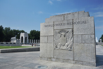 The World War II memorial on the national mall in Washington DC.